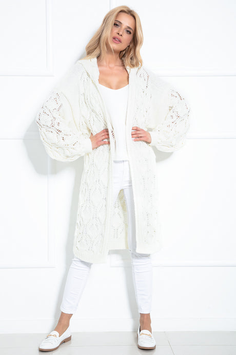 F1026 Hooded Long Cardigan With Eyelet Stitching In Ecru