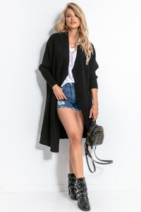 F762 Oversized Long Cardigan In Black