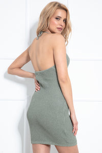 F1019 Backless Halterneck Mini Dress In Olive