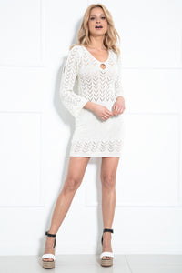 F981 Knitted Body-con Mini Dress In Ecru