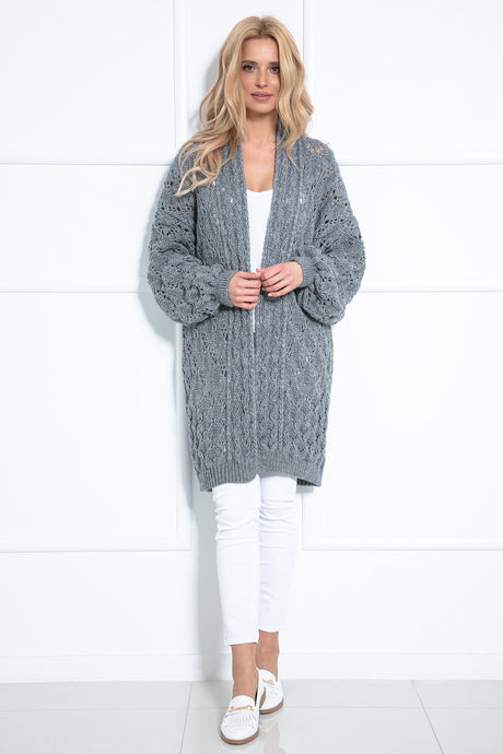 F1027 Long Cardigan With Eyelet Stitching In Gray