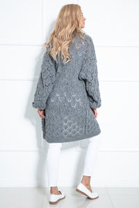 F1027 Long Cardigan With Eyelet Stitching In Grey