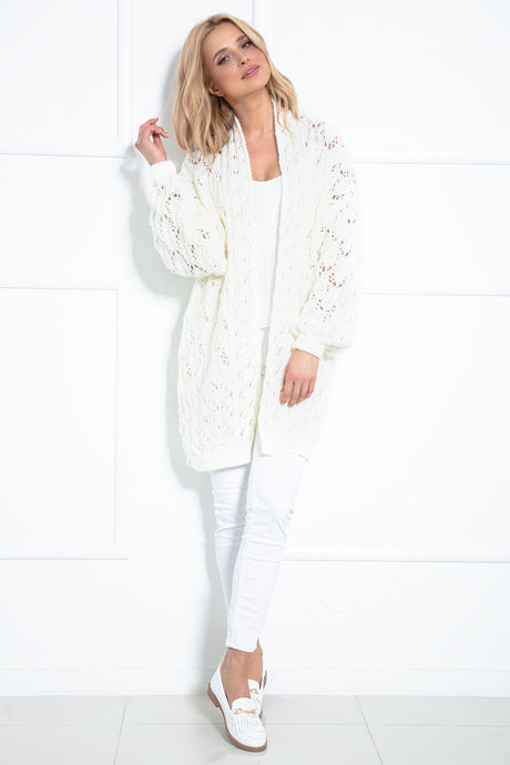 F1027 Long Cardigan With Eyelet Stitching In Ecru