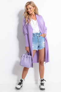 F762 Oversized Long Cardigan In Purple