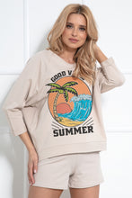 F1045 Cotton Sweatshirt & Shorts Set In Beige