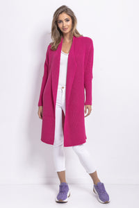 F762 Oversized Long Cardigan In Pink