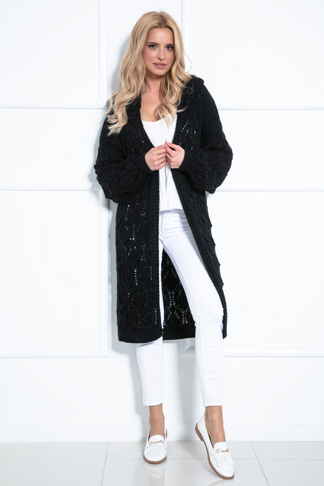 F1026 Hooded Long Cardigan With Eyelet Stitching In Black
