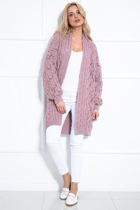 F1027 Long Cardigan With Eyelet Stitching In Pink