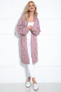 F1026 Hooded Long Cardigan With Eyelet Stitching In Pink