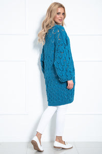F1027 Long Cardigan With Eyelet Stitching In Aqua
