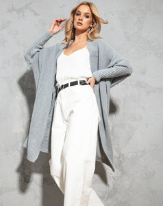 F762 Oversized Long Knit Cardigan In Grey