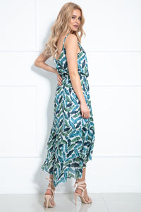 F978 Floral Two Piece Set Asymmetrical Midi Dress In Green