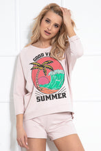 F1045 Cotton Sweatshirt & Shorts Set In Pink