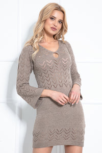 F981 Knitted Body-con Mini Dress In Brown