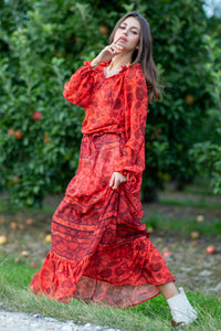 F975 Floral Print Maxi Dress In Red