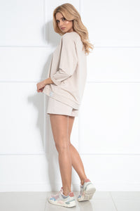 F1041 Cotton Two Pieces Set Sweatshirt & Shorts In Beige