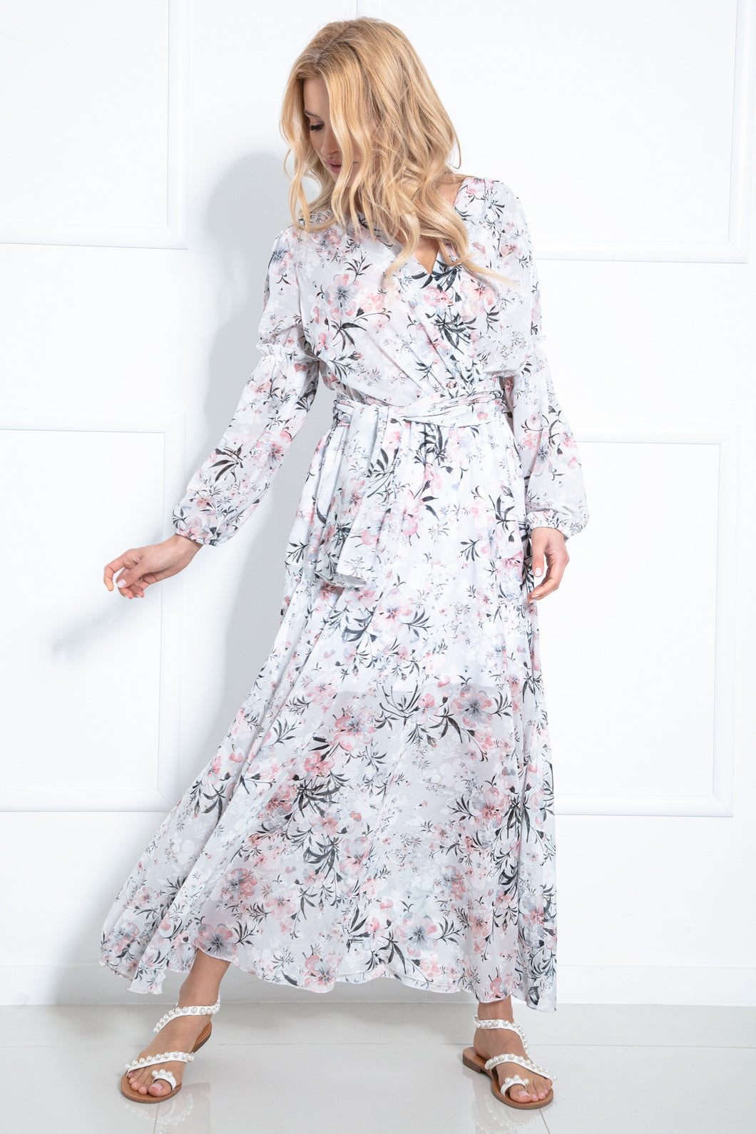 F976 Wrap-Detailing Maxi Dress In Floral Print