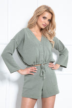 F1020 Blouse & Shorts Set In Olive
