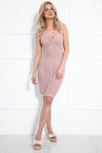 F1022 Body-con Beach Mini Dress In Pink