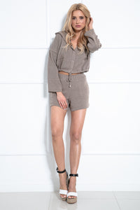 F1025 Two Pieces Set Hooded Blouse & Shorts In Brown