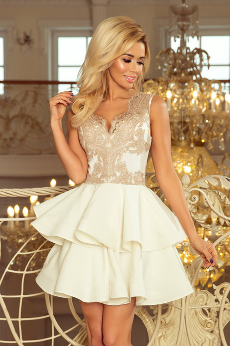 200-1 Ivory Embroidered Lace Bodice Dress 283e29137