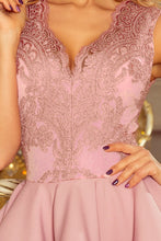 200-10 Embroidered Lace Bodice Fit & Flare Mini Dress In Dusty Pink