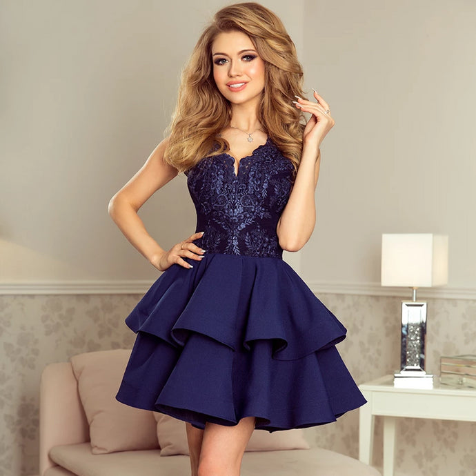 200-2 Embroidered Lace Bodice Fit & Flare Mini Dress In Navy Blue