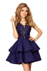 200-2 Embroidered Lace Bodice Fit & Flare Mini Dress In Navy