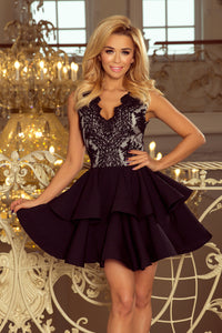 200-3 Embroidered Lace Bodice Fit & Flare Mini Dress In Black