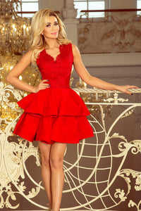 200-4 Embroidered Lace Bodice Fit & Flare Mini Dress In Red