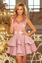 200-5 Embroidered Lace Bodice Fit & Flare Mini Dress In Pink