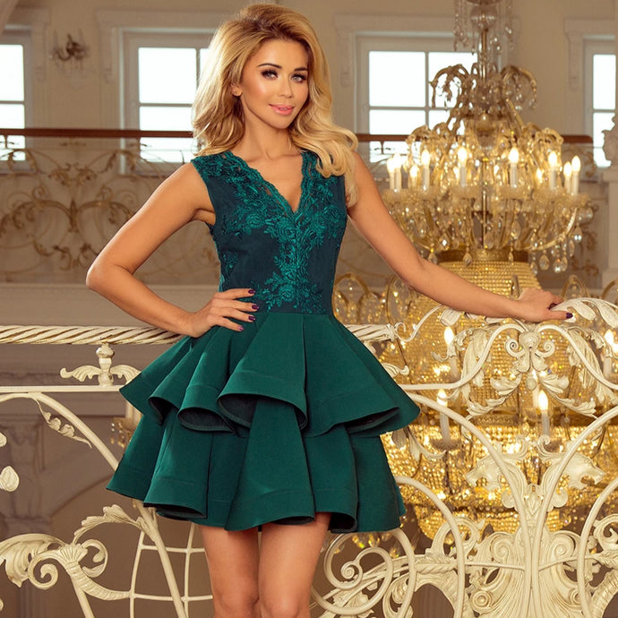 200-6 Embroidered Lace Bodice Fit & Flare Mini Dress In Green