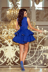 200-7 Embroidered Lace Bodice Fit & Flare Mini Dress In Royal Blue