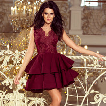 200-8 Embroidered Lace Bodice Fit & Flare Mini Dress In Burgundy
