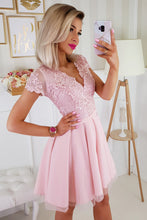 2180-12 Tulle & Embroidered Mesh Mini Dress In Pink