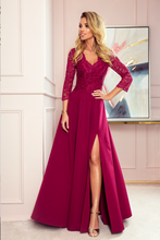 100C/S Cut-Out Back Slit Maxi Dress In Burgundy