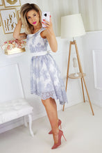 2174-31 Embroidered Lace High-Low Belted Mini Dress In White/Grey