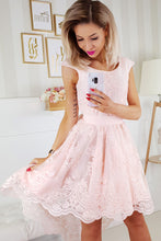 2174-31 Embroidered Lace High-Low Belted Mini Dress In Peach