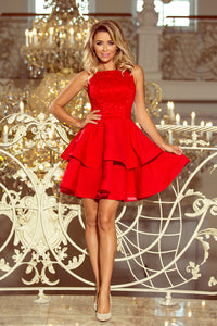 205-1 Lace Bodice Fit & Flare Mini Dress In Red