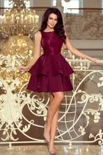 205-2 Burgundy Sleeveless Lace Bodice Dress