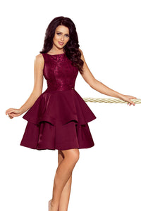 205-2 Lace Bodice Fit & Flare Mini Dress In Burgundy