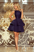 205-3 Navy Sleeveless Lace Bodice Dress