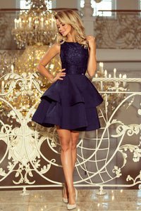 205-3 Lace Bodice Fit & Flare Mini Dress In Navy Blue
