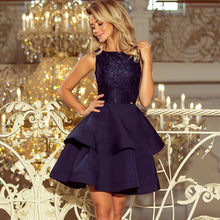 205-3 Lace Bodice Fit & Flare Mini Dress In Navy