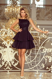 206-2 Embroidered Lace Bodice Fit & Flare Mini Dress In Black