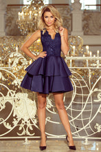 207-2 Embroidered Lace Bodice Fit & Flare Scuba Mini Dress In Navy