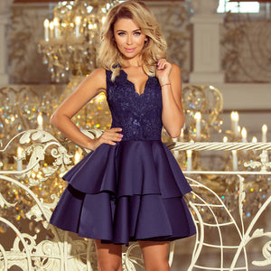 207-2 Embroidered Lace Bodice Fit & Flare Scuba Mini Dress In Navy Blue