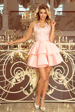 207-3 Pink Embroidered Lace Bodice Fit & Flare Scuba Dress