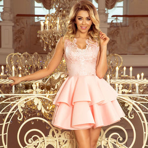 207-3 Embroidered Lace Bodice Fit & Flare Scuba Mini Dress In Pink