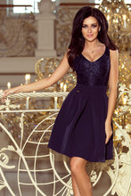 208-1 Lace Bodice Fit & Flare Mini Dress with Pockets In Navy Blue